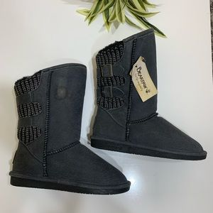 Bearpaw Gray  Suede Fuzzy Mid Calf Size 7 NWT